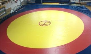 Трехцветное покрытие для борцовского ковра BORBA7 10*10м с креплением липы